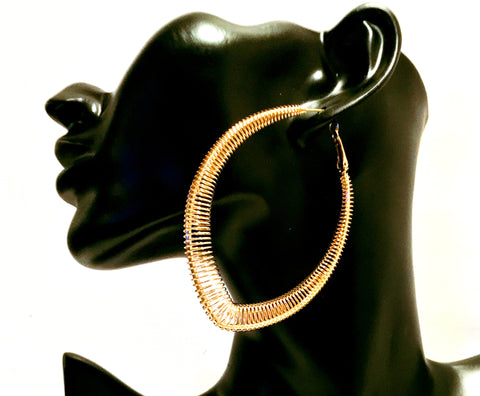 large gold wire hoop earring