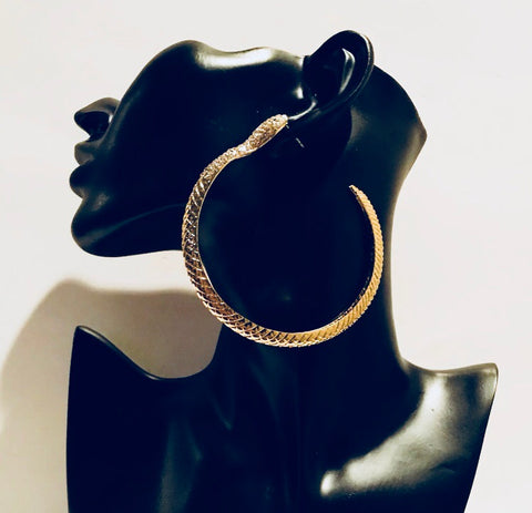 Snake Gold Bling Hoop Earrings 3.5 Inch
