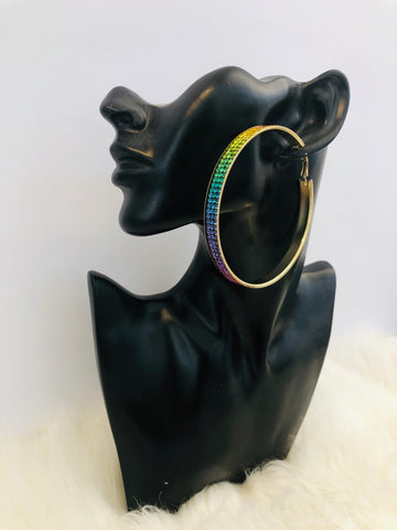 big hoop tie dye earrings