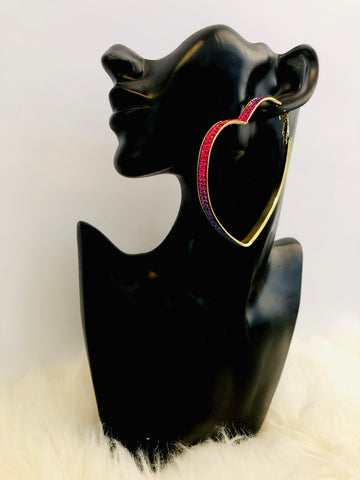 rainbow big hoop earring with stones