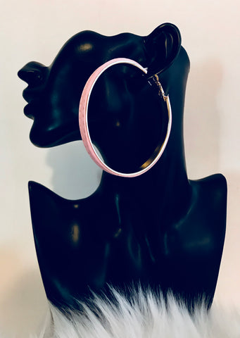 Pink Vegan Leather Hoop Earring