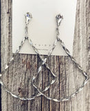 Long Dangle Triangle Bling Hoop Earring Silver New Arrival
