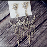 long dangle rhinestone earrings