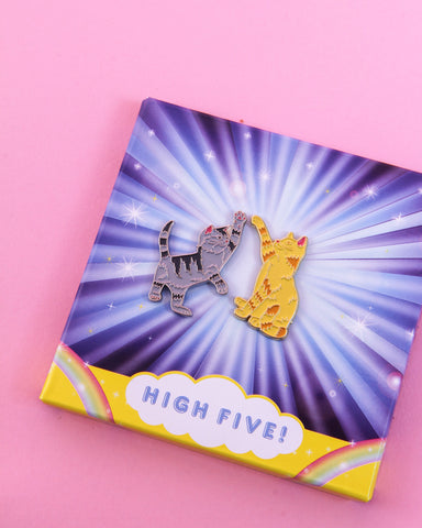 High Five Twin Pins: Two Enamel Pins, unique gift, tween, cat lovers
