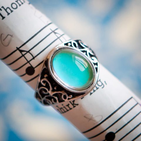 Art nouveau mood ring, unique gift