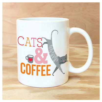 CATS & COFFEE MUG, unique, quirky, gift, animal lover
