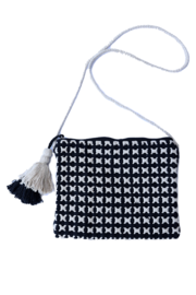 Crossbody black and white woven bag