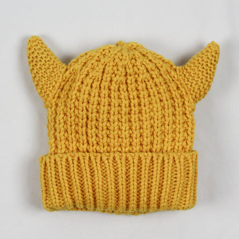 Toddler Knit Viking Hat mustard