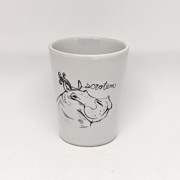 "Dirty Dishes Hippo ""Scrotum"" Shot Glass"