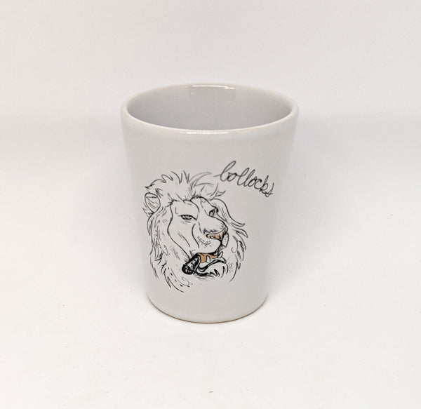 "Dirty Dishes Lion ""Bollocks"" Shot Glass"