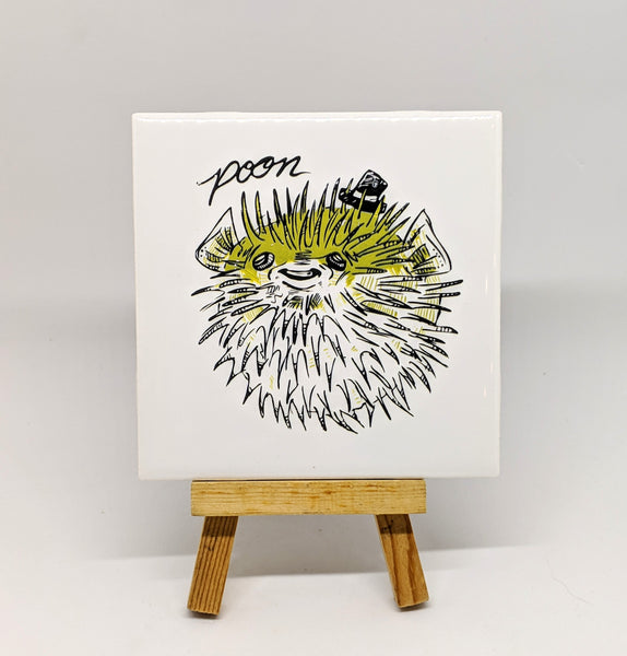 "Dirty Dishes Pufferfish ""Poon"" Coaster"