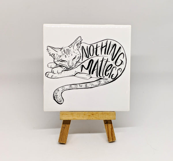 Nothing Matters Nihilist Cat Coaster