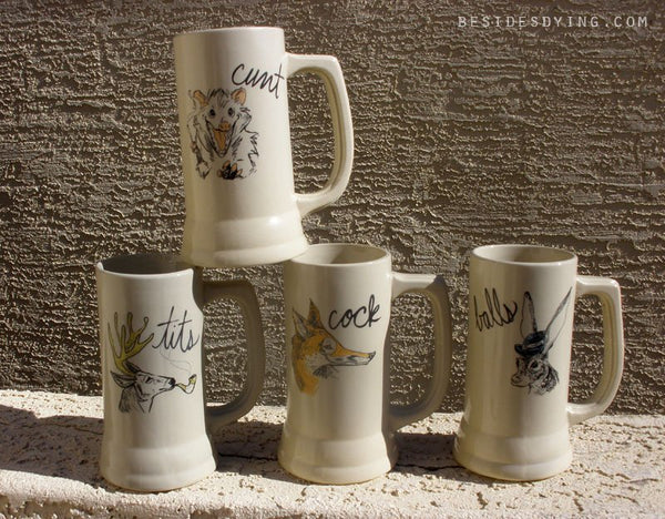 Dirty Dishes Beer Steins-- Set of 4