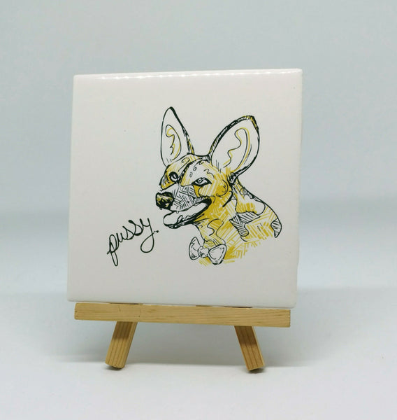 Dirty Dishes African Wild Dog Coaster