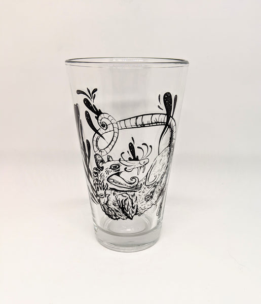 """Movement in Stillness"" Opossum Pint Glass"