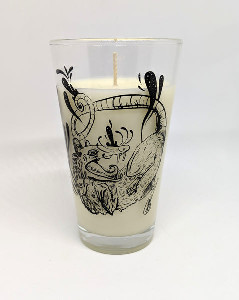 """Movement in Stillness"" Opossum Pint Glass Candle"
