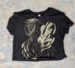 """Ascent"" Black with Gold Ink Flowy Crop Tee"