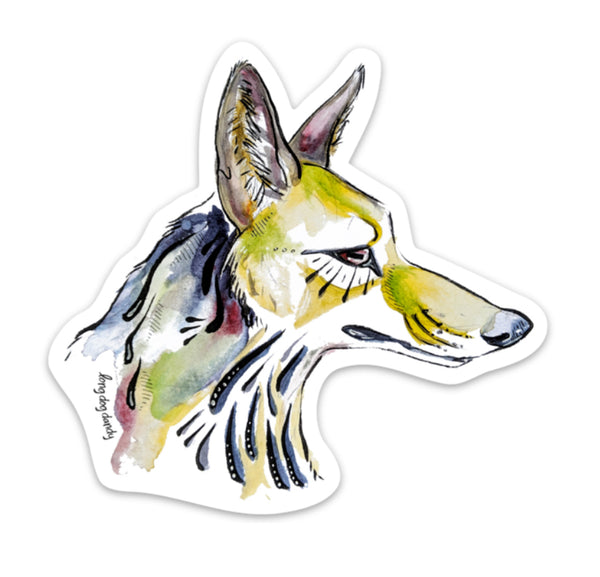 Watercolor Coyote Sticker