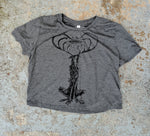 """The Watcher"" Dark Heather Gray Flowy Crop Tee"