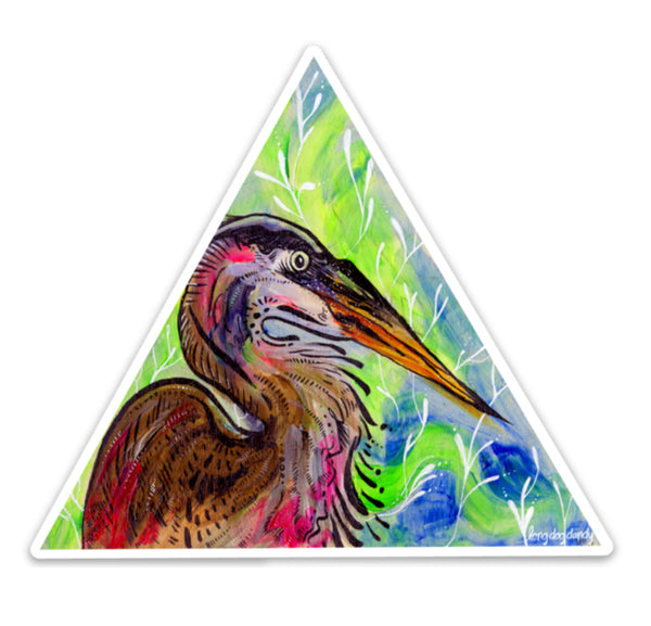 """Maybe the Clouds"" Heron Sticker"