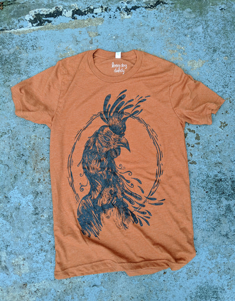 """Rooster Moon"" Unisex Heather Autumn T-Shirt"
