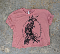"""Rooster Moon"" Mauve Flowy Crop Tee"