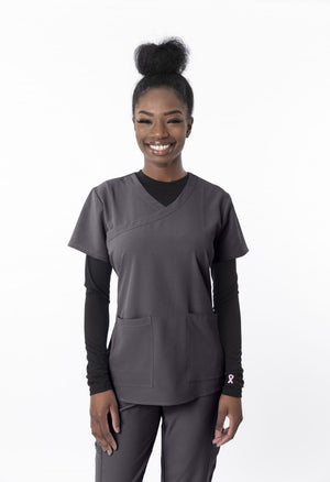 1203 4 flex Fashion Y Neck Scrub Top - Scrub Nation Canada