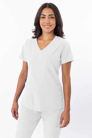 18-1064 Ladies Zinnia Sweetheart Neck Scrub Top by Greentown - Scrub Nation Canada