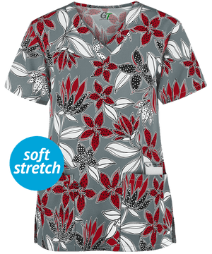 1351GR - Zinnia Fresh Lily V-Neck Print Scrub Top - Scrub Nation Canada