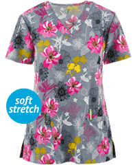 1424GR - Zinnia Layered Floral V-Neck Print Scrub Top - Scrub Nation Canada