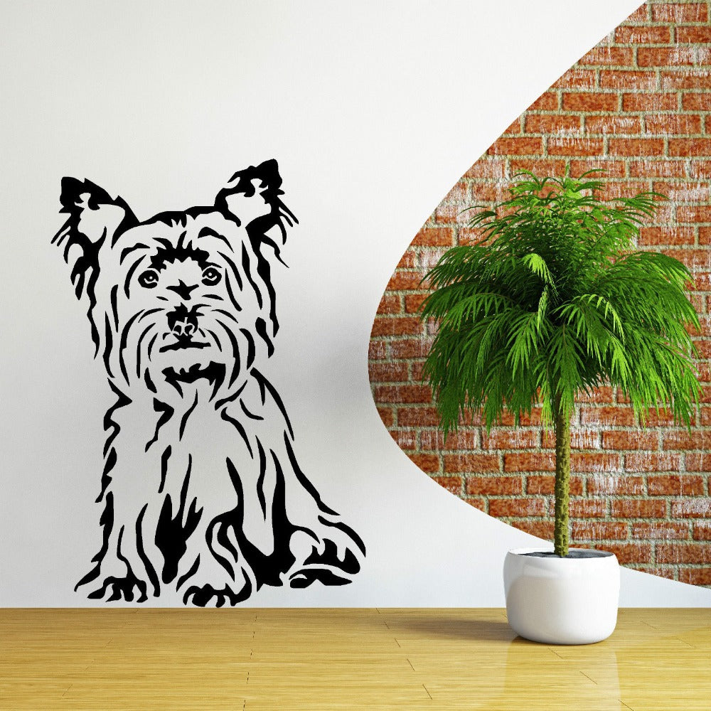 Cute Yorkshire Terrier Dog Sitting Wall Sticker