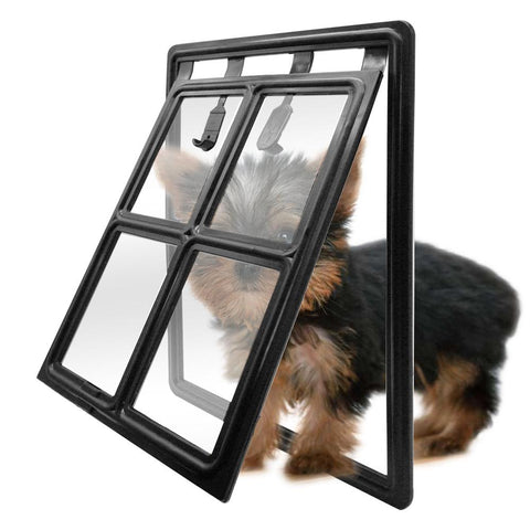 Black Plastic 2 Way Pet Door For Screens Window