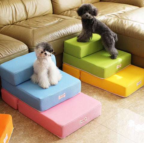 Pet Stair Breathable Mesh Dog  Stairs  2 Steps With Detachable Cover Foldable Pet Ramp Staircase