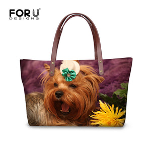 Cute Fashion 3D Yorkshire Terrier Women Zipper Cross-body Handbag Tote