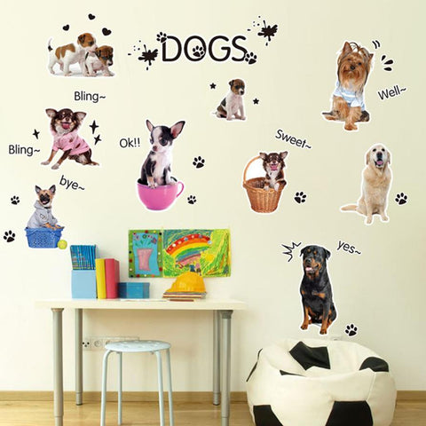 Assorted Dog DIY Vinyl Wall Stickers