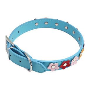 Sweet Flower Studded Puppy Leather Collar