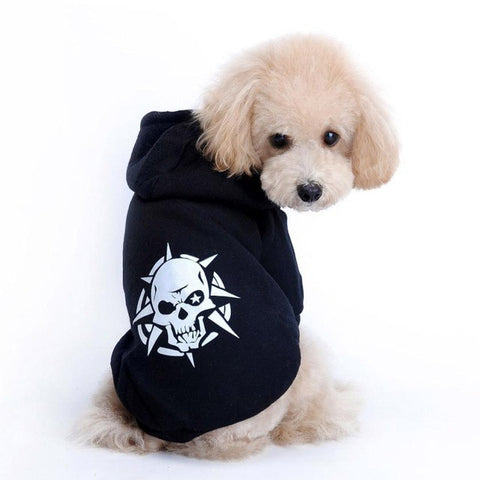 White Skull on Black Hoodie Coat for Small Dogs