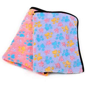 Paw print patterned dog blanket