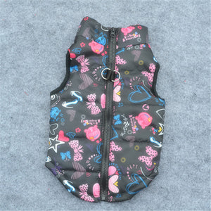 Puffy Patterned Coat for Small Dogs - Pink on Black