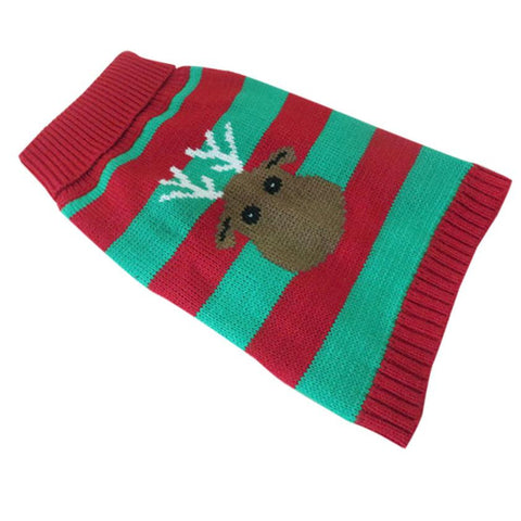 Festive Christmas Dog Sweater with Reindeer