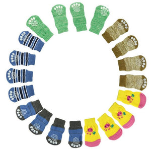Unisex Dog Knit Anti-Slip Socks - 4 pcs