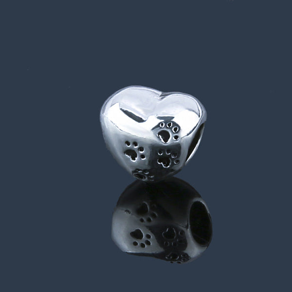 Pet Paw Print Heart Silver Plated Charm