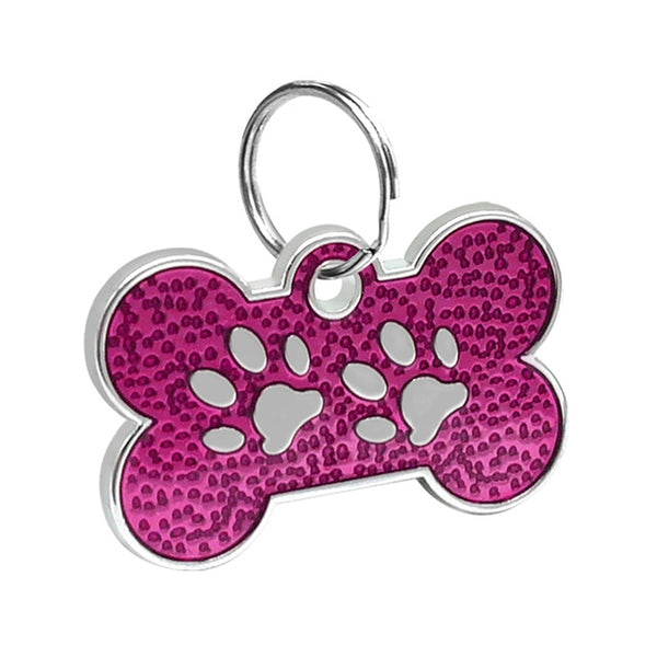 Personalized Engraved Bone Shaped Paw Print Dog ID Tag with Whistle