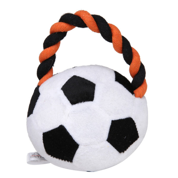 Assorted Sport Ball Squeaker Toys with Braided Rope