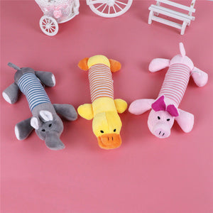 Plush Squeak Toys: Duck, Elephant, Pig