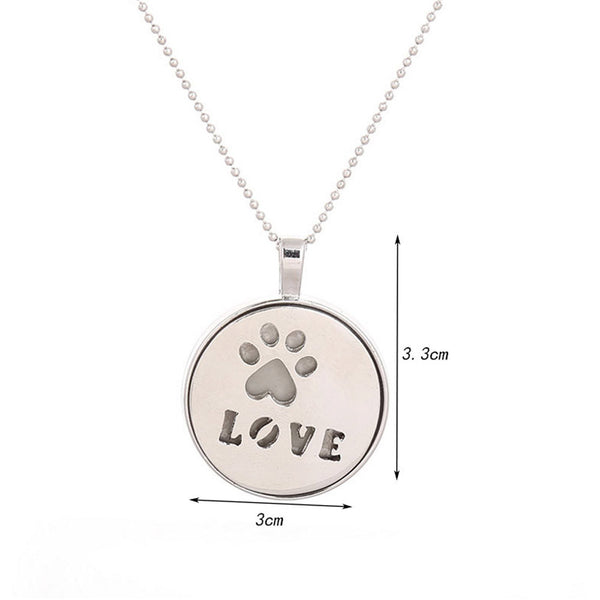 Paw Print and Love Pendant Necklace