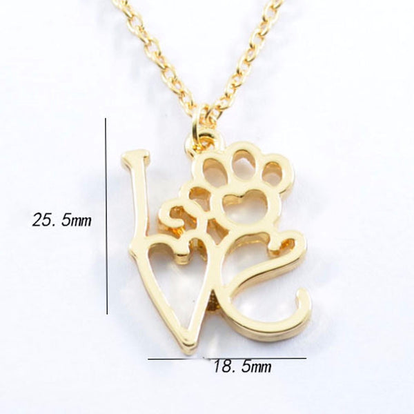Hollow Dog Paw and Love Pendant Necklace