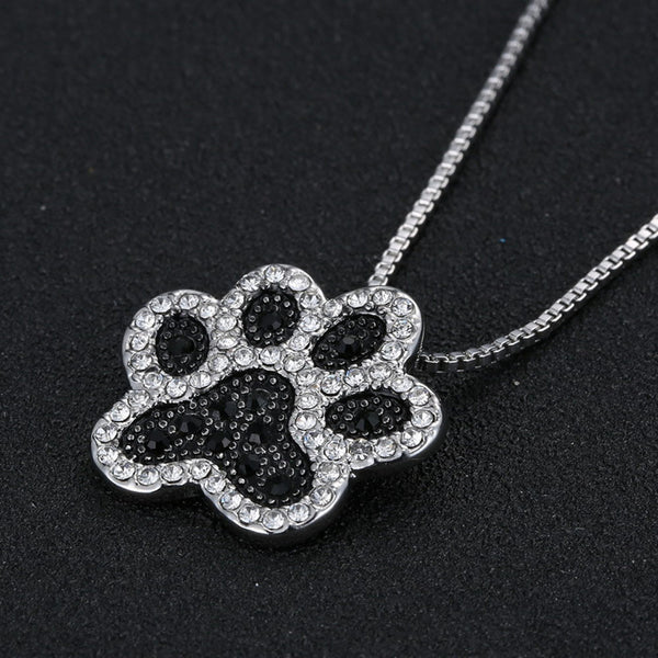 Silver and Black  Crystal Rhinestone Dog Paw Necklace