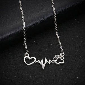 Fashion Jewelry Heartbeat with Paw Necklace