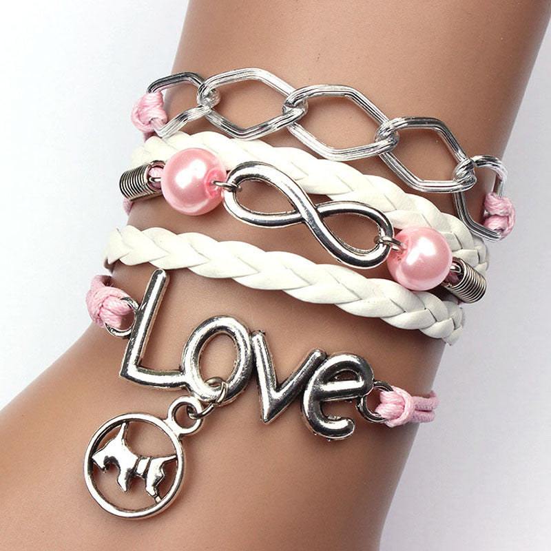 Cute Infinity Friendship Dog Love Pearl Leather Charm Alloy Bracelet